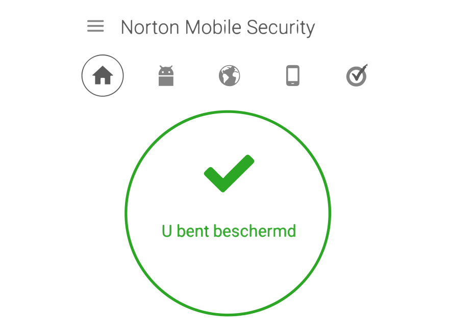 Illustratie: screendump Norton Mobile Security. De virusscanner voor de telefoon.