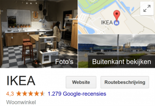 Illustratie: screendump Google Recensies Google Places IKEA Delft.